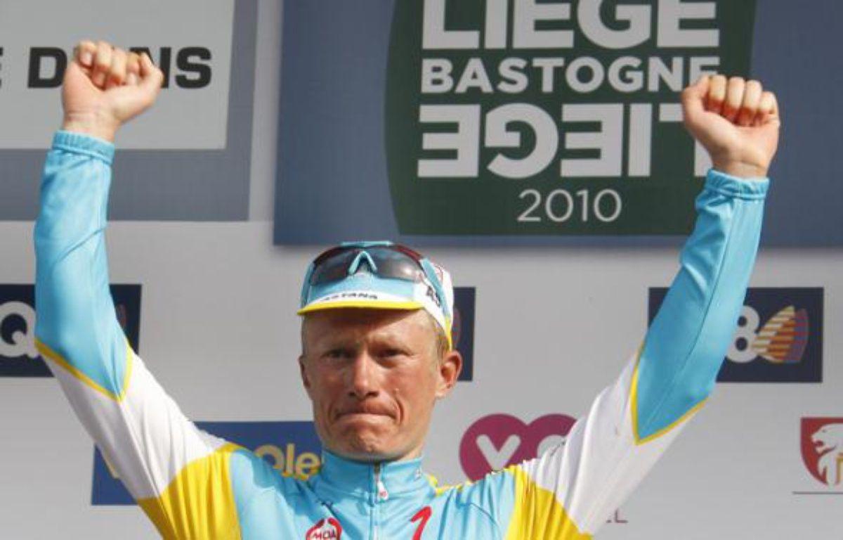 Alexandre Vinokourov, vainqueur de Liège-Bastogne-Liège, le 25 avril 2010 à Liège. – T.Roge/REUTERS