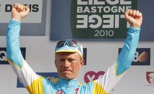 Alexandre Vinokourov, vainqueur de Liège-Bastogne-Liège, le 25 avril 2010 à Liège.