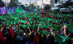 Des militantes en faveur de la légalisation de l'avortement, le 12 octobre 2019 à Buenos Aires (Argentine).