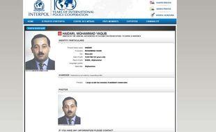Capture d'écran de l'extrait de notice rouge d'Interpol, qui recherche l'Afghan Mohammad Yaqub Haidari, le 19 janvier 2015.