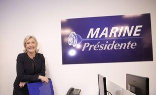 Marine Le Pen le 16 novembre 2016 à l'inauguration de son QG de campagne.