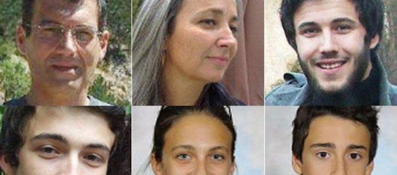 La famille de Ligonnès (Xavier, Agnès, Arthur, Thomas, Anne et Benoît). La mère et ses quatre enfants ont été tués en avril 2011. Le père a disparu.
