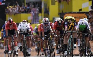 La 1ère étape du Tour de France a été remportée par Teunissen devant Sagan, le 6 juillet 2019 à Bruxelles.