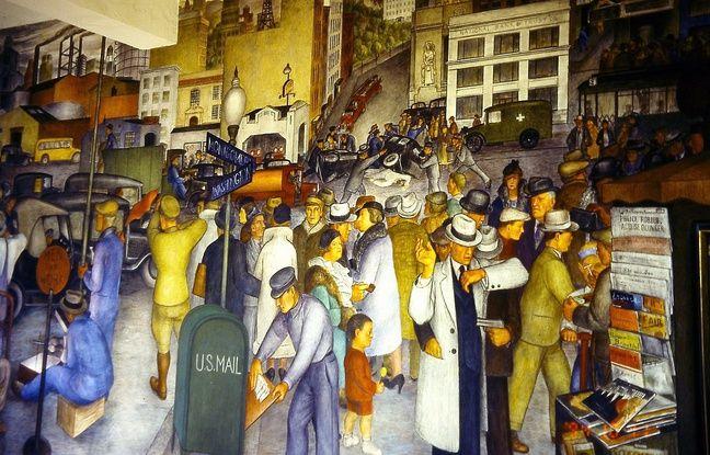 « City Life », de Victor Arnautoff (1896-1979), 1934, fresques peintes sur la Coit Tower à San Francisco.