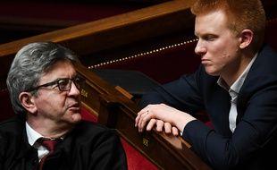 Jean-Luc Mélenchon et Adrien Quatennens le 2 avril 2019