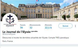 Capture d'écran du compte parodique Le journal de l'Elysée.