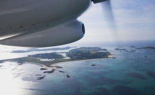 Vue aérienne de l'île Tresco en Grande-Bretagne, le 9 mars 2010.