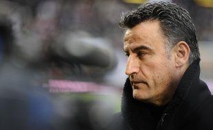 L'entraîneur de l'ASSE Christophe Galtier, le 19 avril 2015 à Lyon.