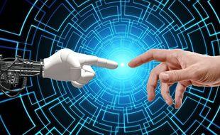 Digital indique un travail du clic : un travail simple, fait à la main, tâcheronnisé et datafié. Illustration de l'intelligence artificielle.