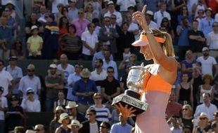 Maria Sharapova après sa victoire à Roland-Garros, le 7 juin 2014 à Roland-Garros
