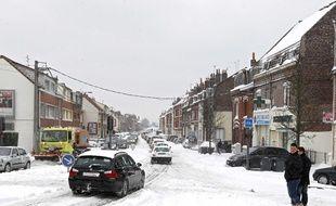 La ville de Lille sous la neige.
