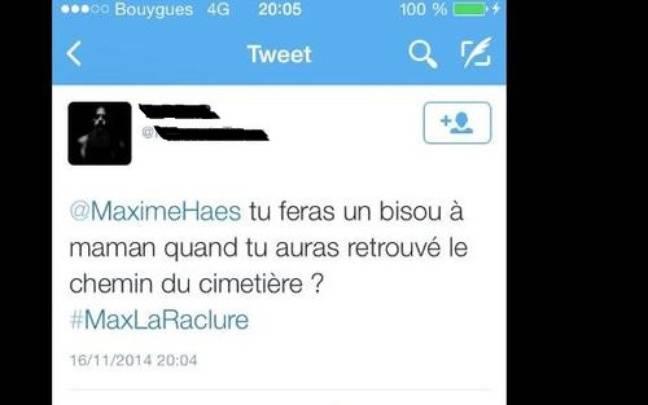 L'un des tweets de menaces de mort reçus par Maxime.