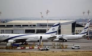 Un avion de la compagnie El Al, à l'aéroport de Tel Aviv en Israël, en 2013.
