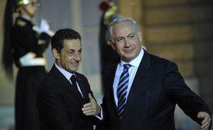 Le président français Nicolas Sarkozy et le Premier ministre israélien Benjamin Netanyahou lors de leur rencontre à l'Elysée, mercredi 11 novembre 2009.