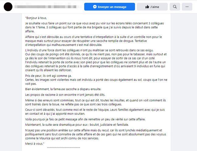 Dans ce témoignage, un policier supposé prend la parole pour défendre ses collègues impliqués dans l'affaire Michel Zecler