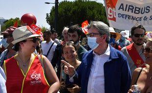 Jean-Luc Mélenchon dans la manifestation des salariés d'Airbus le 9 juillet 2020 à Toulouse.