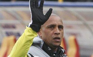 Le joueur brésilien Roberto Carlos, le 3 avril 2011 lors d'un match avec l'Anzhi Makhachkala contre le Rubin Kazan.