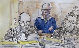 Metz (Moselle), le 25 avril 2017. Francis Heaulme dans le box de la cour d'assises de la Moselle où il est jugé pour le double meurtre de Montigny-lès-Metz.