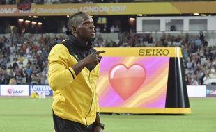 Usain Bolt lors de ses adieux au stade olympique de Londres le 13 août 2017.