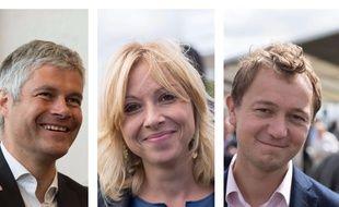 Collage 20 Minutes/Sipa de Laurent Wauquiez, Florence Portelli et Maël de Calan, candidats à la présidence du parti Les Républicains