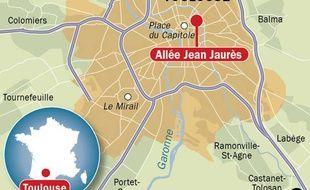 Carte de situation de l'Allée Jean Jaurès, à Toulouse, où la mère d'un enfant autiste est montée sur une grue pour dénoncer le manque d'assistants spécialisés.