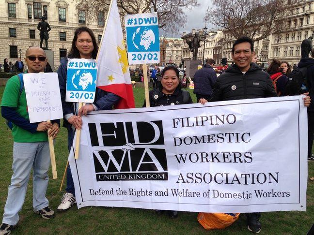L'association des employés domestiques philippins manifestent le 20 février 2017 à LOndres défendre les droits des travailleurs étrangers au Royaume-Uni.