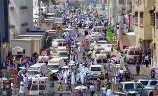Des ambulances à la Mecque après la bousculade meurtrière de Mina, le 24 septembre 2015.