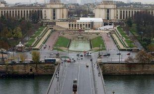 Vue aérienne du Trocadéro à Paris, le 20 novembre 2015