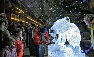 Les sculptures sur glace à Noel aux Nefs, à Nantes