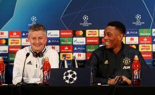 Ole Gunnar Solskjaer et Anthony Martial en conférence de presse, à la veille de Manchester United-PSG en Ligue des champions, le 11 février 2019.