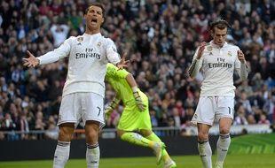 L'attaquant du Real Madrid Cristiano Ronaldo râle après une occasion ratée par son coéquipier Gareth Bale, le 10 janvier 2015, contre l'Espanyol Barcelone.