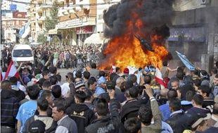 Les partisans de Saad Hariri ont manifesté hier au Liban (ici à Tripoli ).