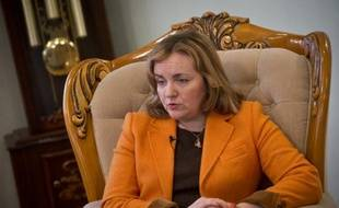 La ministre moldave des Affaires étrangères Natalia Gherman lors d'un entretien avec l'AFP, le 28 mars 2015 à Chisinau