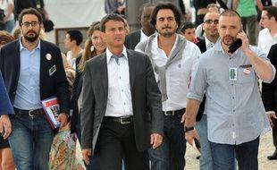L'équipe choc de Manuel Valls, à La Rochelle, le 27 août 2011. De gauche à droite: Sébastien Gros, Manuel Valls, Harold Hauzy et Christian Gravel.