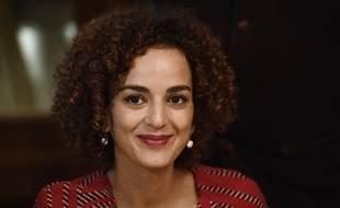 Leïla Slimani, lauréate du prix Goncourt 2016, au Drouant, lors de la conférence de presse, le 3 novembre 2016.