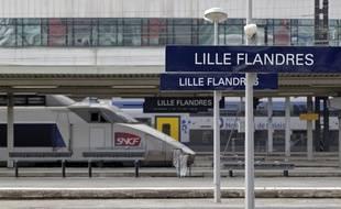 Lille, le 2 septembre 2013. Inauguration de nouveaux equipemente de voirie RFF installes en amont de la gare de Lille Flandres.