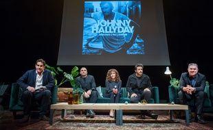 Sebastien Farran, Bertrand Lamblot, Rose-Hélène Chassagne, Maxime Nucci  et Thierry Chassagne lors de la conférence de presse «Mon pays, c'est l'amour», lundi chez Warner à Paris.
