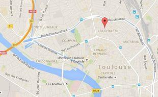 Carte de localisation de la rue des Chalets, à Toulouse.