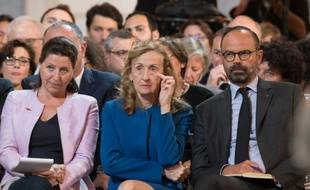 Agnès Buzyn, Nicole Belloubet et Edouard Philippe lors de la conférence de presse d'Emmanuel Macron à l'Elysée, jeudi.