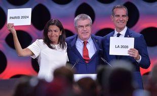Anne Hidalgo lors de l'annonce officielle de la sélection de Paris, comme ville hôte des JO-2024, le 13 septembre à Lima.