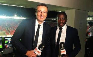 Rio Mavuba (à droite) avec Eric Huet avant le match aller entre Prague et Bordeaux.