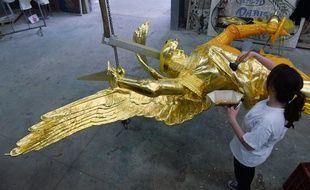 L'archange a été restauré en Dordogne.