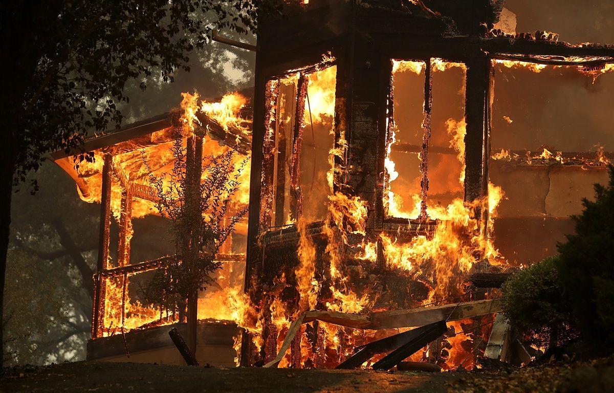 Une maison détruire par un incendie dans la région de la Napa Valley, en Caifornie, le 9 octobre 2017. – JUSTIN SULLIVAN / GETTY IMAGES NORTH AMERICA / AFP