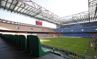 Le stade San Siro, à Milan, lors du match Milan AC-Genoa à huis clos le 8 mars 2020.