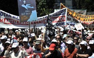 Manifestation à Athènes, en Grèce, le 4 mai 2010.