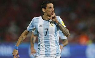 Angel Di Maria fête son but lors de Chili-Argentine le 24 mars 2016.