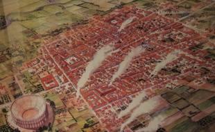 Proposition de reconstitution imaginaire de la ville de Brumath / Brocomagus au milieu du IIe siècle après JC. (Dessin: J-C Goepp, Shabe)