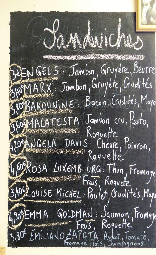 La carte des sandwichs est composée de noms anarchistes réputés. Le 19 juillet 2018.