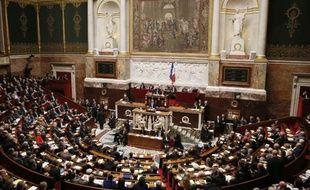 Vue générale de l'Assemblée nationale lors du discours de politique générale de Manuel Valls, le 8 avril 2014