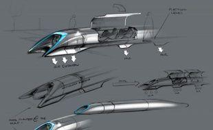 Un croquis du concept de transport Hyperloop, dévoilé à Elon Musk le 12 août 2013.
